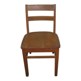Old Maple Wooden Ladder Back School Chair For Sale