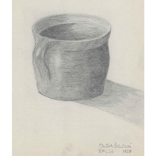 Traditional 1928 Pottery Cup Still Life Drawing by Silova For Sale - Image 3 of 3