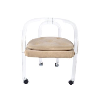 Attributed to Leon Frost Lucite Armchair, Desk Chair on Casters For Sale