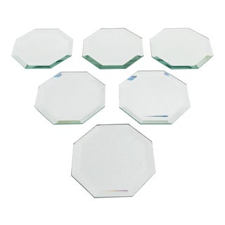 Vintage Octagonal Mirror Coasters - Set of 6