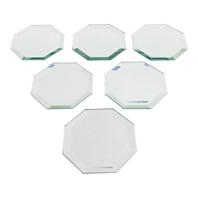 Vintage Octagonal Mirror Coasters - Set of 6 For Sale