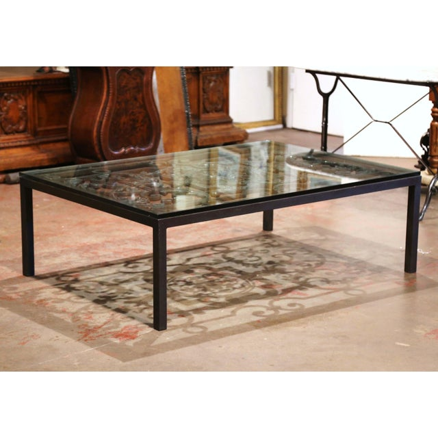18th Century French Forged Iron Balcony Gate Coffee Table With Glass Top For Sale - Image 4 of 7