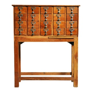 British Colonial Teak Wood 20 Drawers Filing Cabinet For Sale