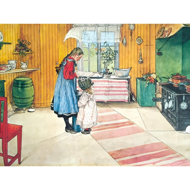 """Various Artists Carl Larsson Vintage 1972 Original Swedish Lithograph Print Poster """" Koket the Kitchen """" 1898 For Sale - Image 4 of 12"""