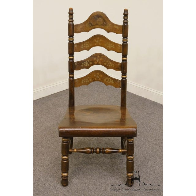 Country 20th Century Traditional Ethan Allen Old Tavern Pine Ladder Back Dining Chair For Sale - Image 3 of 9