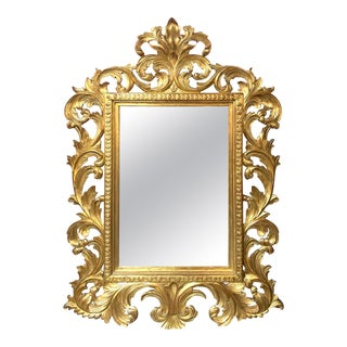 Italian Baroque Style Carved Gold Gilt Mirror For Sale