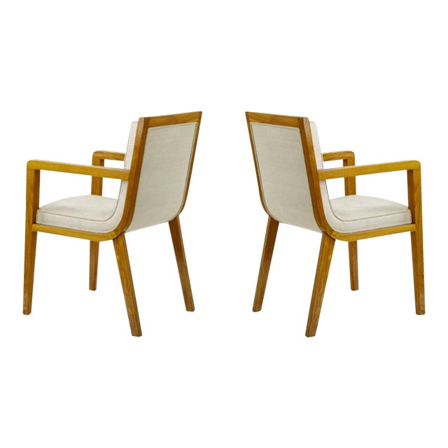 Maxime Old Pair of Refined Oak Arm Chairs(attributed) For Sale
