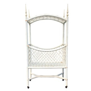White Wicker Canopy Crib For Sale