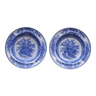 Pair Staffordshire Blue & White Soup Bowls For Sale