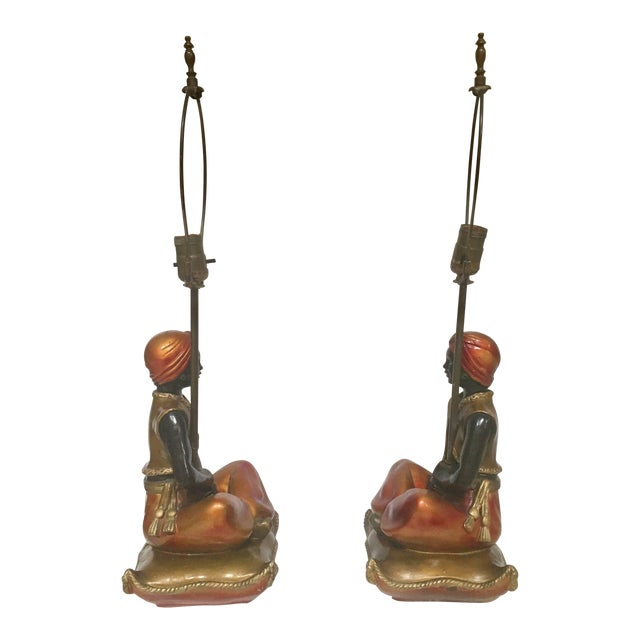 Pair of Blackamoors Mid-century Nubian Table Lamps For Sale