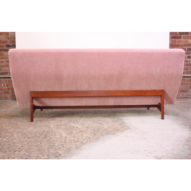 Jens Risom Design Jens Risom Floating Three-Seat Armless Sofa in Walnut and Mohair For Sale - Image 4 of 13