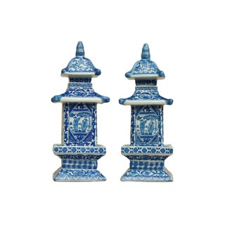 Chinoiserie Blue & White Ceramic Pagoda Jars - a Pair For Sale