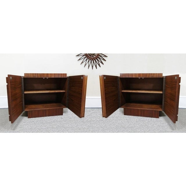 Mid-Century Lane Brutalist Style Walnut Nightstands - A Pair - Image 4 of 4