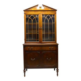 English Style Glass Door Cabinet For Sale