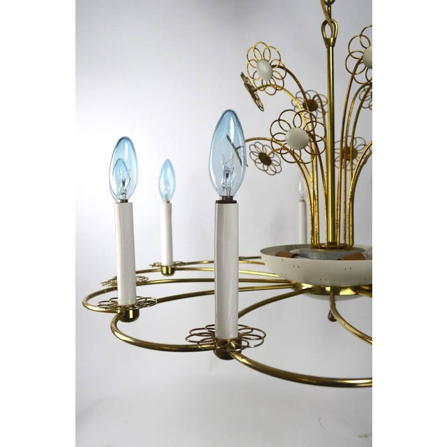 Mid 20th Century Floral Chandelier by Lightolier After Tynell For Sale - Image 5 of 11