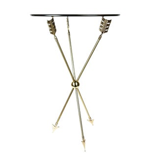 1960s Maison Jansen Neoclassical Hollywood Regency Brass Arrow Directoire Accent Table For Sale