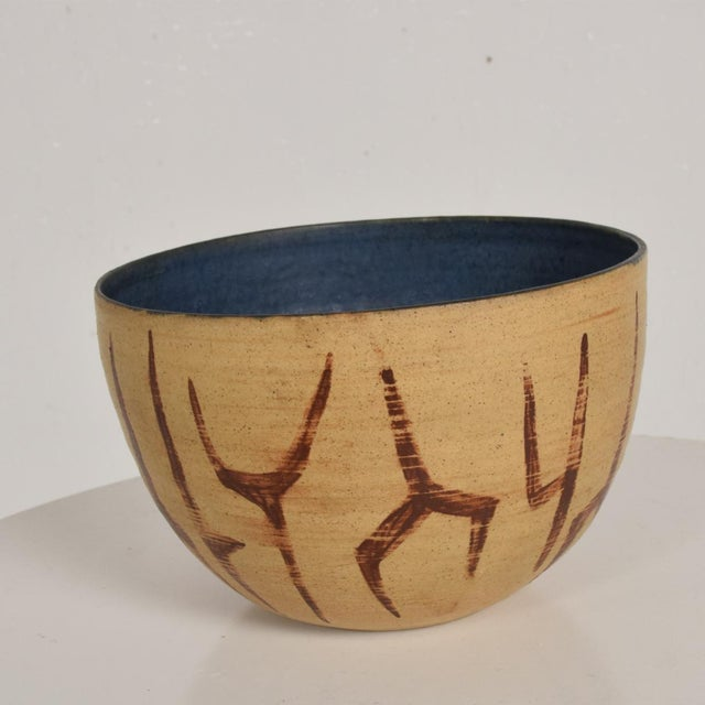 Mid Century Modern Bowl With Beautiful Decoration, Earth Tones With Blue Inside Natzler Era For Sale - Image 4 of 9
