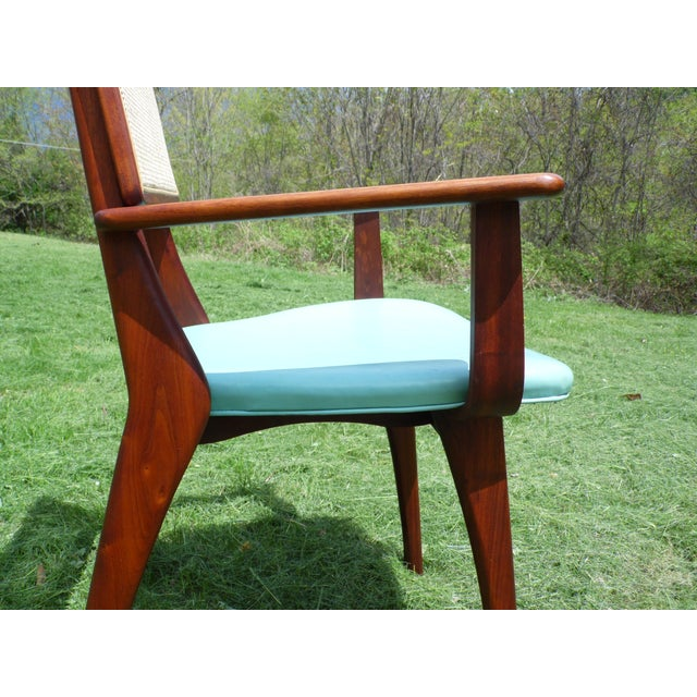Mid-Century Modern Walnut & Cane Dining Chairs - Set of 4 For Sale - Image 5 of 11