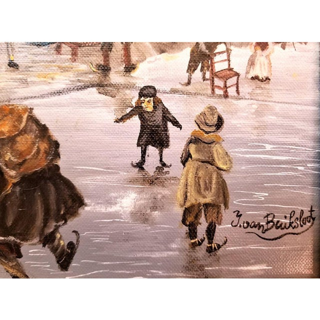 Black Dutch Ice Skating Oil Painting on Canvas by Van Buiksloot For Sale - Image 8 of 13