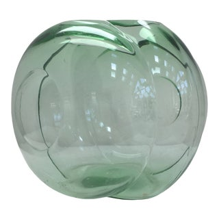 "George Sakier for Fostoria Glass Company Green ""Lotus"" Vase For Sale"