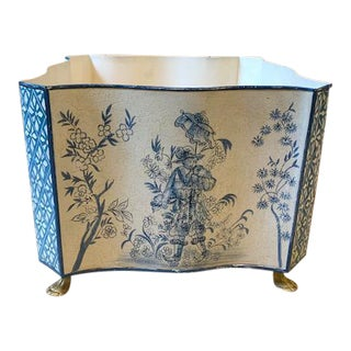Vintage Chinoiserie Blue & White Tole Cachepot/Jardiniere For Sale