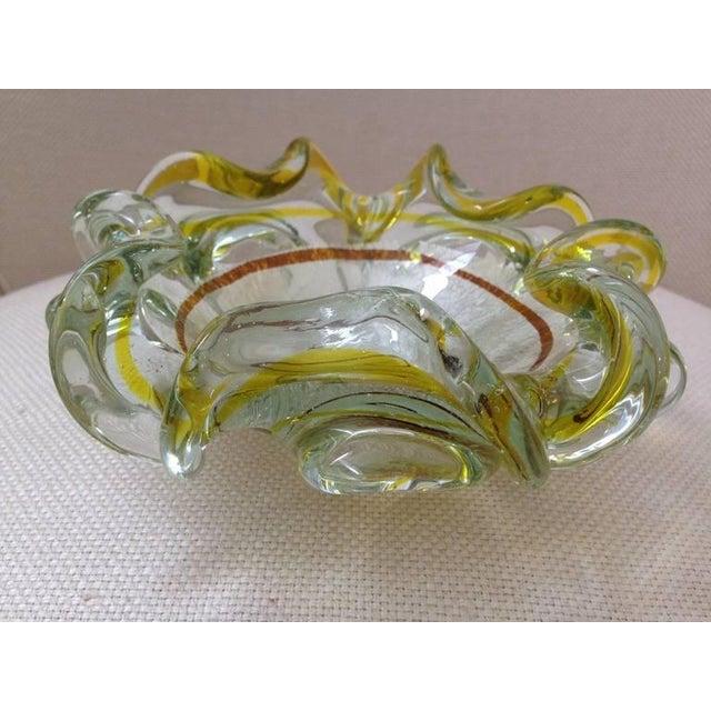 Italian Italian Murano Silver Foil and Citrine Stripe Glass Bowl For Sale - Image 3 of 4