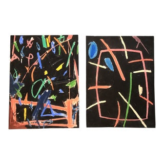 Original Pair Robert Cooke Abstract Pastel Drawings 1980's For Sale