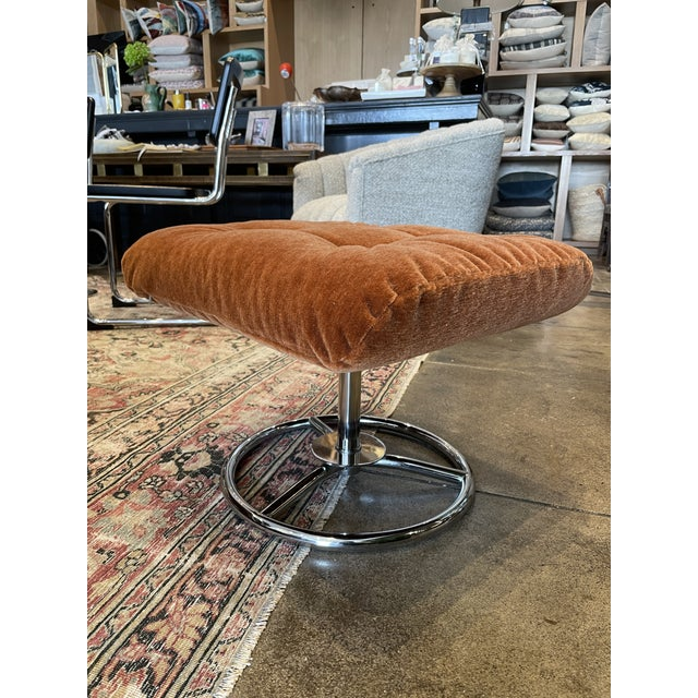 Orange 1990s Ekornes Rust Mohair Recliner and Ottoman For Sale - Image 8 of 10