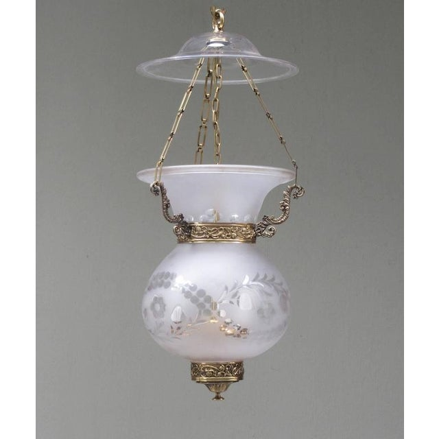 Glass Early 19th Century English Regency Frosted and Etched Glass Bell Jar Lantern For Sale - Image 7 of 7