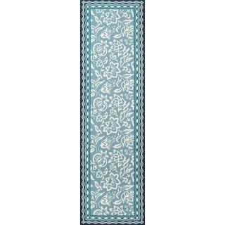 "Madcap Cottage Under a Loggia Rokeby Road Blue Indoor/Outdoor Area Rug 2'3"" X 8' Runner For Sale"