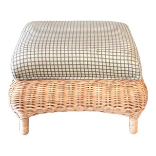 Wicker Green Upholstery Footstool For Sale