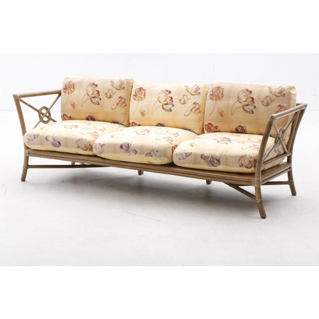 Vintage Mid-Century Modern McGuire Target Bamboo and Rattan Sofa in excellent vintage condition. Late 20th Century Item...