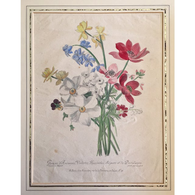 Antique French Floral Botanical Print For Sale