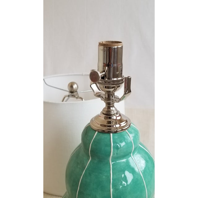 Contemporary Turquoise Green Ceramic Table Lamp For Sale - Image 3 of 4