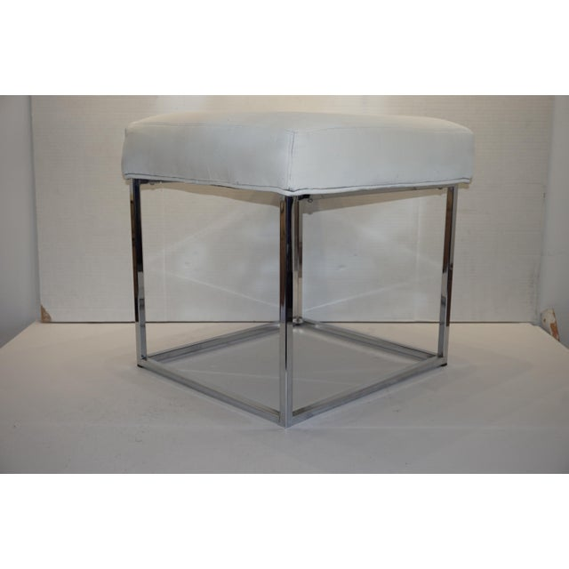 DIA - Design Institute America 1970s Mid Century Modern Milo Baughman for Design Institute of America Cube Chrome Ottoman For Sale - Image 4 of 8
