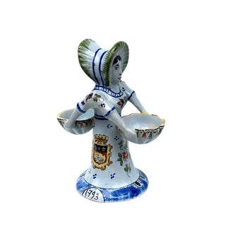 Antique French Porcelain Salt & Pepper Cellar Figurine For Sale