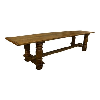 English Oak Plank Top Trestle Table For Sale