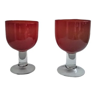 Mid- Century Peach Murano Wine Glasses - a Pair For Sale