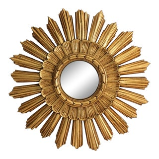 Continental Convex Sunburst Mirror For Sale