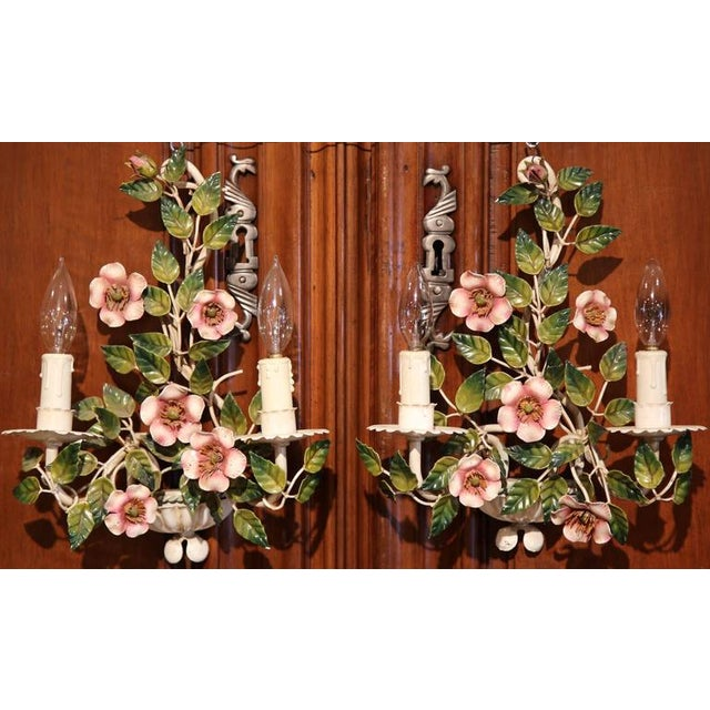 Early 20th Century French Hand-Painted Metal Sconces With Flowers - A Pair - Image 2 of 8