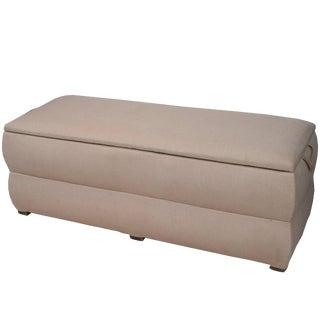 Pair of Italian Trunks Upholstered in Antique White Linen For Sale