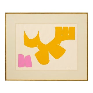 1960s Abstract Yellow and Pink Print by Eric Dennard For Sale