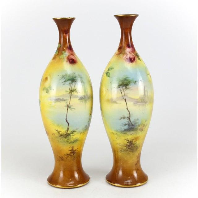 Franz Anton Mehlem Royal Bonn Porcelain Hand Painted Portait Vases - A Pair For Sale - Image 4 of 8