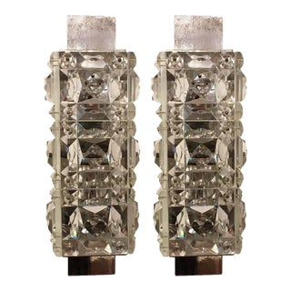 1960s Austrian Crystal Kinkeldey Wall Lights - a Pair For Sale
