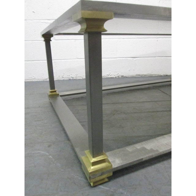 1960s Brushed Steel and Brass Coffee Table For Sale - Image 5 of 7