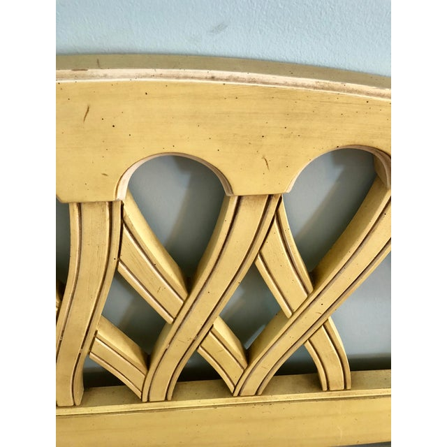 Mid-Century Yellow Chippendale Twin Headboards- a Pair - Image 6 of 10