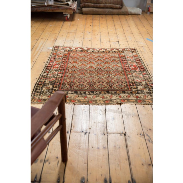 """Red Antique Hamadan Square Rug - 4'1"""" x 4'9"""" For Sale - Image 8 of 12"""