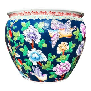 Chinoiserie Blue Porcelain Planter Pot With Koi Fish Interior Motif For Sale