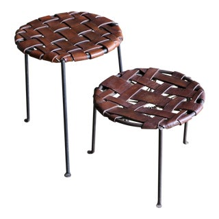 Lila Swift and Donald Monell Iron and Leather Stools - a Pair