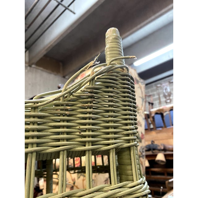 Vintage Light Green Painted Wicker Round Side Table For Sale - Image 11 of 13